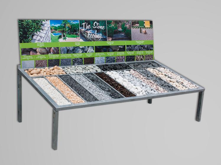 Mesa muestrario de piedra natural jardi pond mayoristas en materiales para jardiner a - Mesas de piedra para exterior ...